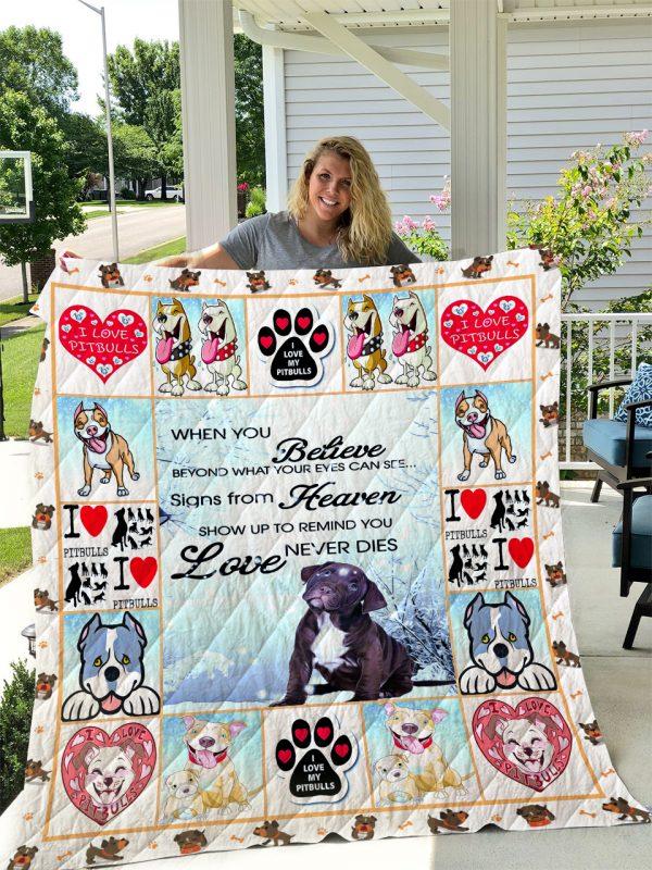 Pitbull Dog 2 Quilt Blanket I1d1