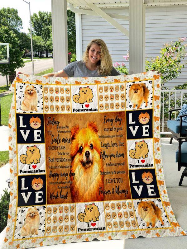 Pomeranian Dog Quilt Blanket I1d1