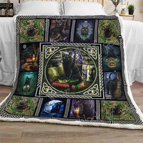 Wiccan Black Cat Sofa Blanket Thh1037
